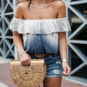 Free People Cora Lee Off Shoulder Ombre Top Blue M